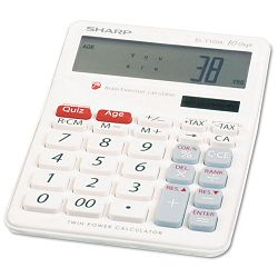 EL-T100AB Brain Exerciser Calculator 10-Digit LCD Dual Power (SHRELT100AB)