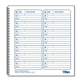 "Voice Mail Log Book 8-12"" x 8-14"" 1400-Message Book (TOP44165)"