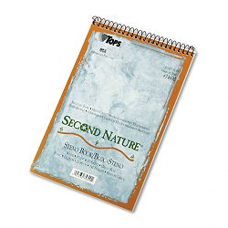 "Second Nature Spiral ReporterSteno Notebook Gregg Rule 6"" x 9"" WE 70-Sheet (TOP74690)"