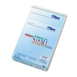 "Spiral Steno Notebook Gregg Rule 6"" x 9"" Blue 4 80-Sheet PadsPack (TOP80284)"