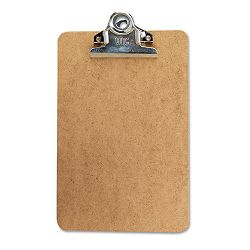 "Clipboard with High-Capacity Clip 1"" Capacity Holds 6w x 9h Brown (UNV05610)"