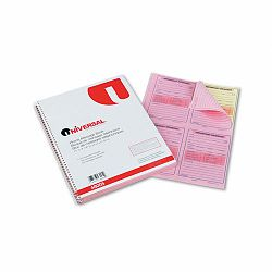 "Wirebound Message Books 3-316"" x 5-12"" Two-Part Carbonless 200-Set Book (UNV48005)"