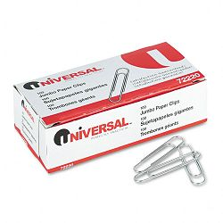 Smooth Paper Clips Wire Jumbo Silver Box of 100 10 BoxesPack (UNV72220)