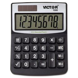 1000 Minidesk Calculator SolarBattery 8-Digit Display Black (VCT1000)