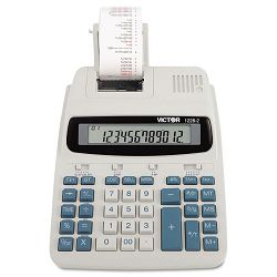 1228-2 Two-Color Roller Printing Calculator 12-Digit LCD BlackRed (VCT12282)