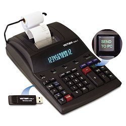 1280-7 Two-Color Printing Calculator with USB 12-Digit Fluorescent BlackRed (VCT12807)