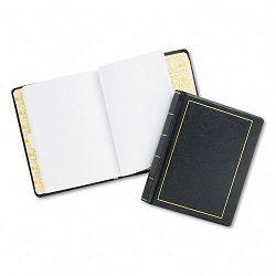"Looseleaf Minute Book Black Leather-Like Cover 125 Pages 8 12"" x 11"" (WLJ039511)"
