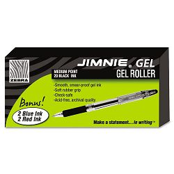 Jimnie Roller Ball Stick Gel Pen Black Ink Medium Pack of 24 (ZEB14410)