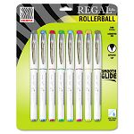 Regal Roller Ball Stick Pen Assorted Ink Arrow 8 per Pack (ZEB44508)
