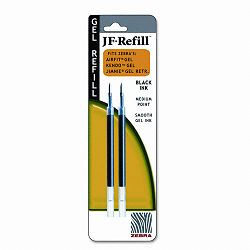 JF Refill for Jimnie Gel RTAirfit GelKendo Gel Roller Ball Medium Black Pack of 2 (ZEB87012)