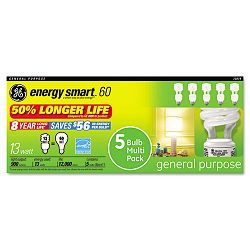 Compact Fluorescent Bulb 13 Watt T3 Spiral Soft White Pack of 5 (GEL71804)
