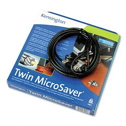Twin Microsaver Security Cable 7-12ft Steel Cable BlackSilver Two Keys (KMW64025)