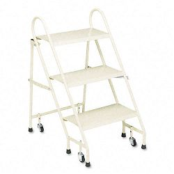 Steel Folding Three-Step Ladder with Retracting Casters Beige (CRA113019)