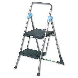 "Commercial 2-Step Folding Step Stool 300lb Duty 20-12""w x 24-34""d x 39-12""h Gray (CSC11829GGB)"