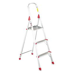 #566 Three Foot Folding Aluminum Euro Platform Ladder Red (DADL234603)