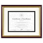 "DocumentCertificate Frame with Mat Laminated Wood 11"" x 14"" MahoganyGold Leaf (DAX2703S2RX)"