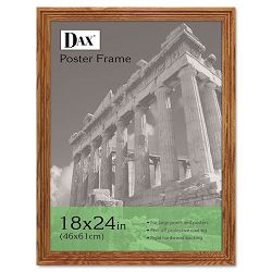 "Solid Wood Poster Frame Traditional with Plexiglas Window 18"" x 24"" Med Oak (DAX2856W1X)"