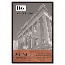 "Flat Face Wood Poster Frame with Plexiglas Window 24"" x 36"" Black (DAX286036X)"