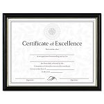 "Two-Tone DocumentDiploma Frame Wood 8-12"" x 11"" Black with Gold Leaf Trim (DAXN17981BT)"