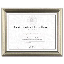 "Antique Colored Document Frame with Certificate Metal 8-12"" x 11"" Silver (DAXN1818N2T)"