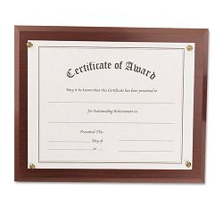 "Award-A-Plaque Document Holder AcrylicPlastic 10-12"" x 13"" Mahogany (NUD18813M)"