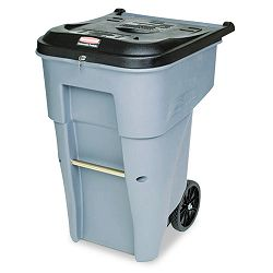 Roll-Out Heavy-Duty Waste Container Square Polyethylene 65 Gallon Gray (RCP9W1088GY)