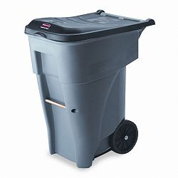 Brute Rollout Heavy-Duty Waste Container Square Polyethylene 65 Gallon Gray (RCP9W21GY)