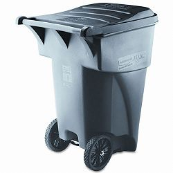Brute Rollout Heavy-Duty Waste Container Square Polyethylene 95 Gallon Gray (RCP9W22GY)