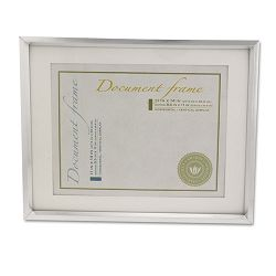 "Plastic Document Frame for 8 12"" x 11"" Insert with Mat Metallic Silver (UNV76854)"