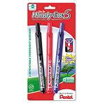 Handy-line S Retractable Permanent Markers Fine Tip Assorted Colors Pack of 3 (PENNXS15BP3M)