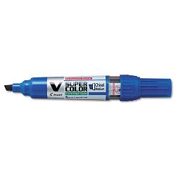 V Super Color BeGreen Marker Chisel Tip Refillable Blue Pack of 12 (PIL43905)