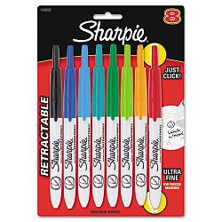 Retractable Ultra Fine Tip Permanent Marker Assorted Colors Set of 8 (SAN1742025)