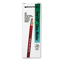 Peel-Off China Markers Red Pack of 12 (SAN2059)