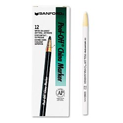 Peel-Off China Markers White Pack of 12 (SAN2060)