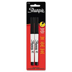 Permanent Marker Ultra Fine Point Black Pack of 2 (SAN37161PP)