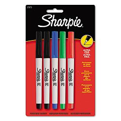 Permanent Markers Ultra Fine Point Assorted Colors Set of 5 (SAN37675)