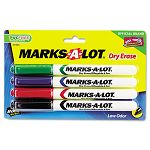 Pen Style Dry Erase Markers Bullet Tip Assorted Set of 4 (AVE24459)