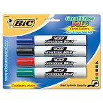 Great Erase Bold Dry Erase Markers Chisel Tip Assorted Set of 4 (BICDECP41ASST)