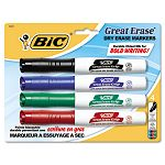 Great Erase Grip XL Dry Erase Markers Chisel Assorted Set of 4 (BICGDEMP41ASST)
