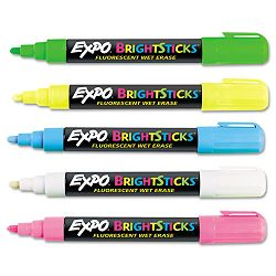 Bright Sticks Wet-Erase Fluorescent Marker Set Bullet Tip Assorted (SAN14075)