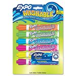 Washable Dry Erase Marker Bullet Point Assorted 6 per Pack (SAN1761209)