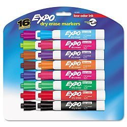 Low Odor Dry Erase Markers Chisel Tip Assorted Set of 16 (SAN81045)