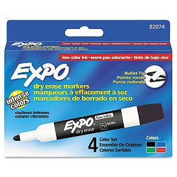 Low Odor Dry Erase Markers Bullet Tip Assorted Set of 4 (SAN82074)