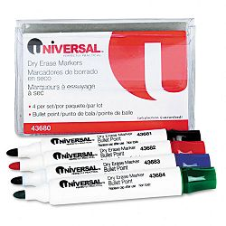 Dry Erase Markers Bullet Tip Assorted Set of 4 (UNV43680)