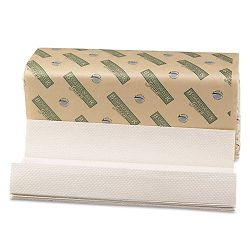 "Green Folded Towels C-Fold Natural White 10 18""W x 13""L 150Pack Carton of 16 (BWK11GREEN)"
