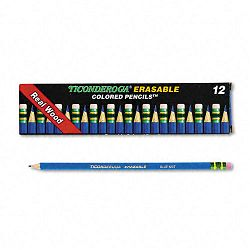 Ticonderoga Erasable Colored Pencils 2.6 mm Blue LeadBarrel Pack of 12 (DIX14209)