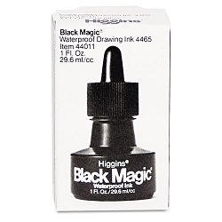 Higgins Black Magic Waterproof Ink Black 1 oz Bottle (HIG44011)