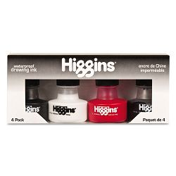 Higgins Fountain Pen Ink 1 oz Bottle Assorted Colors Set of 4 (HIG44032)