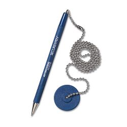 Secure-A-Pen Ballpoint Counter Pen with Base Blue Ink Medium (MMF28908)