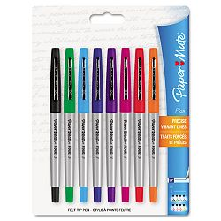 Flair Porous Point Stick Liquid Pen Assorted Ink Ultra Fine Pack of 8 (PAP62145)